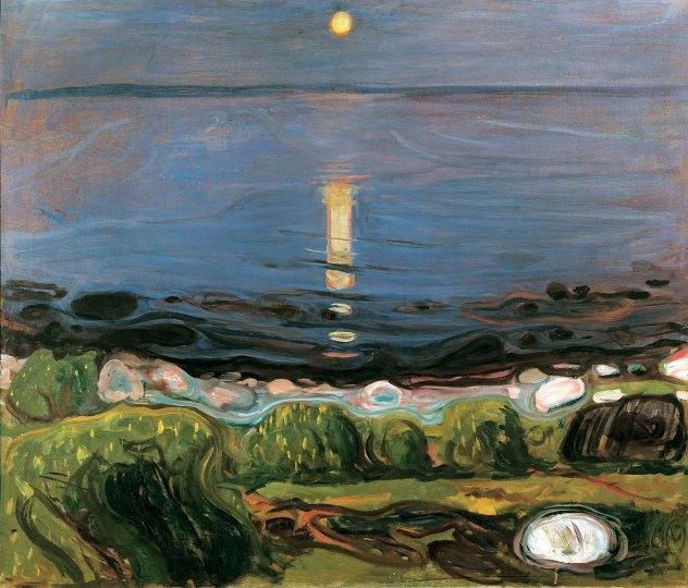 Edvard Much, Summer night by the beach.