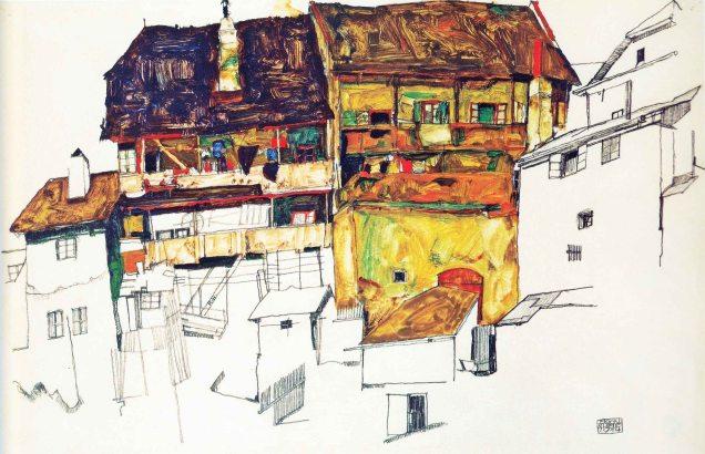 Egon Schiele, Alte Hauser in Krumau.