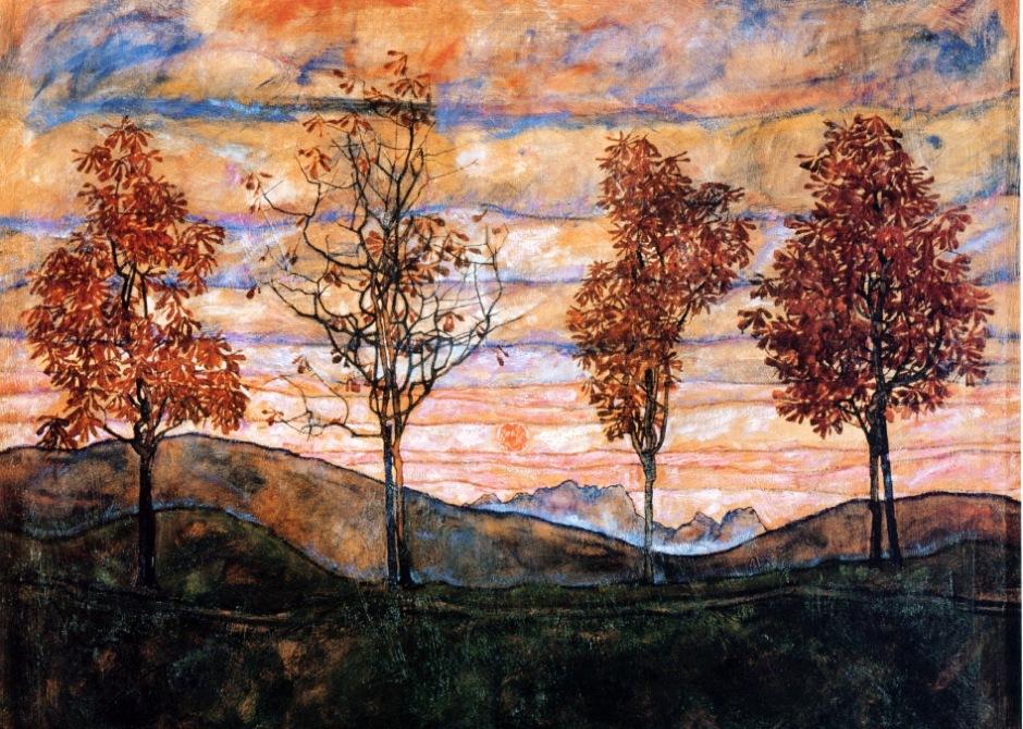Egon Schiele, Quattro alberi, 1917.