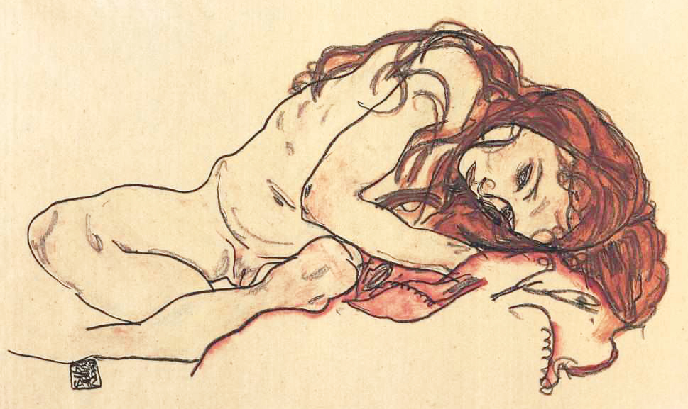 Egon Schiele, ragazza nuda accovacciata.