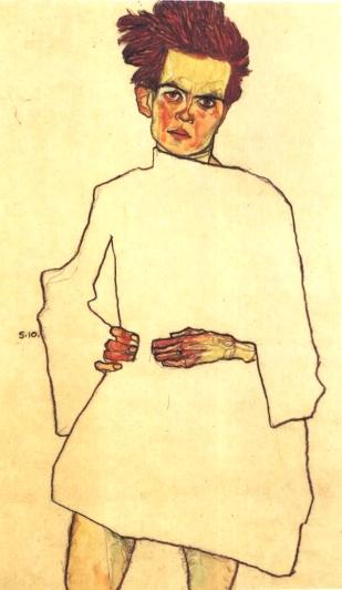 Schiele_-_Selbstbildnis_mit_Hemd_-_1910