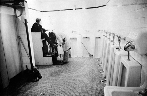 Robert Frank, men's room, railway station.