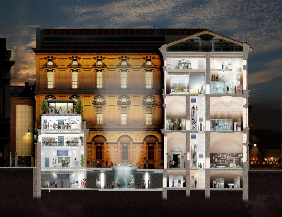 Il progetto del nuovo allestimento con l'ingresso sotterraneo sotto il cortile e la scala mobile che permette di organizzare il percorso.