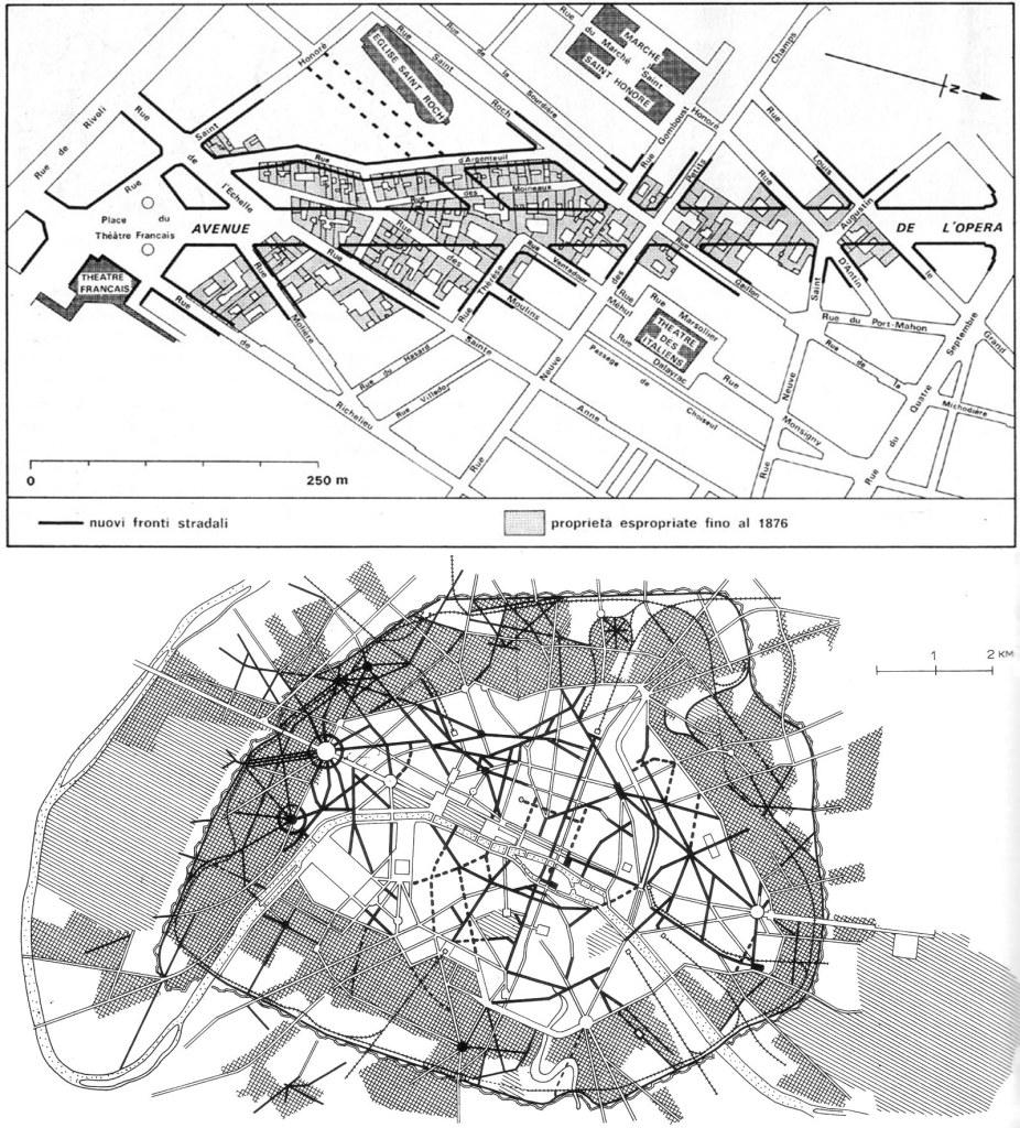 I progetti di Haussmann per Parigi. In alto un esempio di sventramento, in basso carta della città con in nero i nuovi assi viari, a scacchi i nuovi quartieri e a righe il verde urbano in progetto.