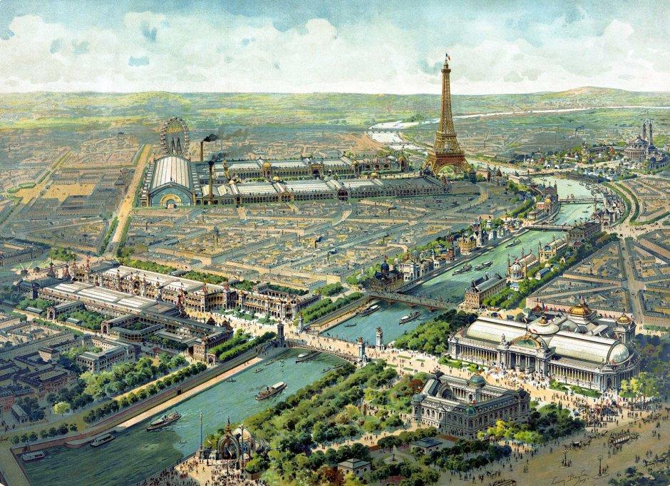 Vista panoramica dell'esposizione universale di Parigi, 1900.