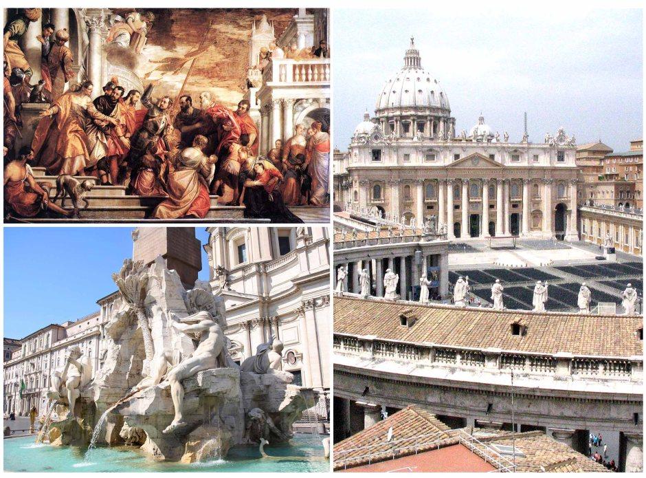 """Barocco: """"San Marco e San Marcellino condotti al patibolo"""" di Veronese, Piazza San Pietro e la fontana dei Fiumi in piazza Navona di Gian Lorenzo Bernini."""