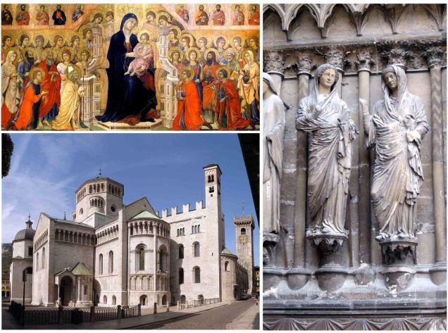 """Basso medioevo: """"Maestà"""" di Duccio di Buoninsegna, bassorilievo della cattedrale di Reims e Duomo di Trento."""