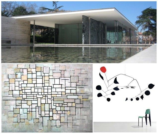 """Movimento moderno: il padiglione tedesco all'Expo di Barcellona del '29 di Ludwig Mies Van Der Rohe, """"Composizione senza titolo"""" di Piet Mondrian, scultura di Alexander Calder."""