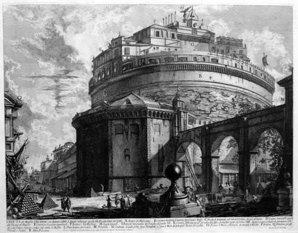 Castel Sant'Angelo, incisione di Piranesi (si vede anche il passetto!)
