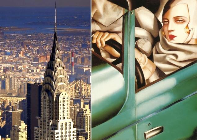 A sinistra, il Chrysler Building, a destra Tamara de Lempicka, autoritratto.