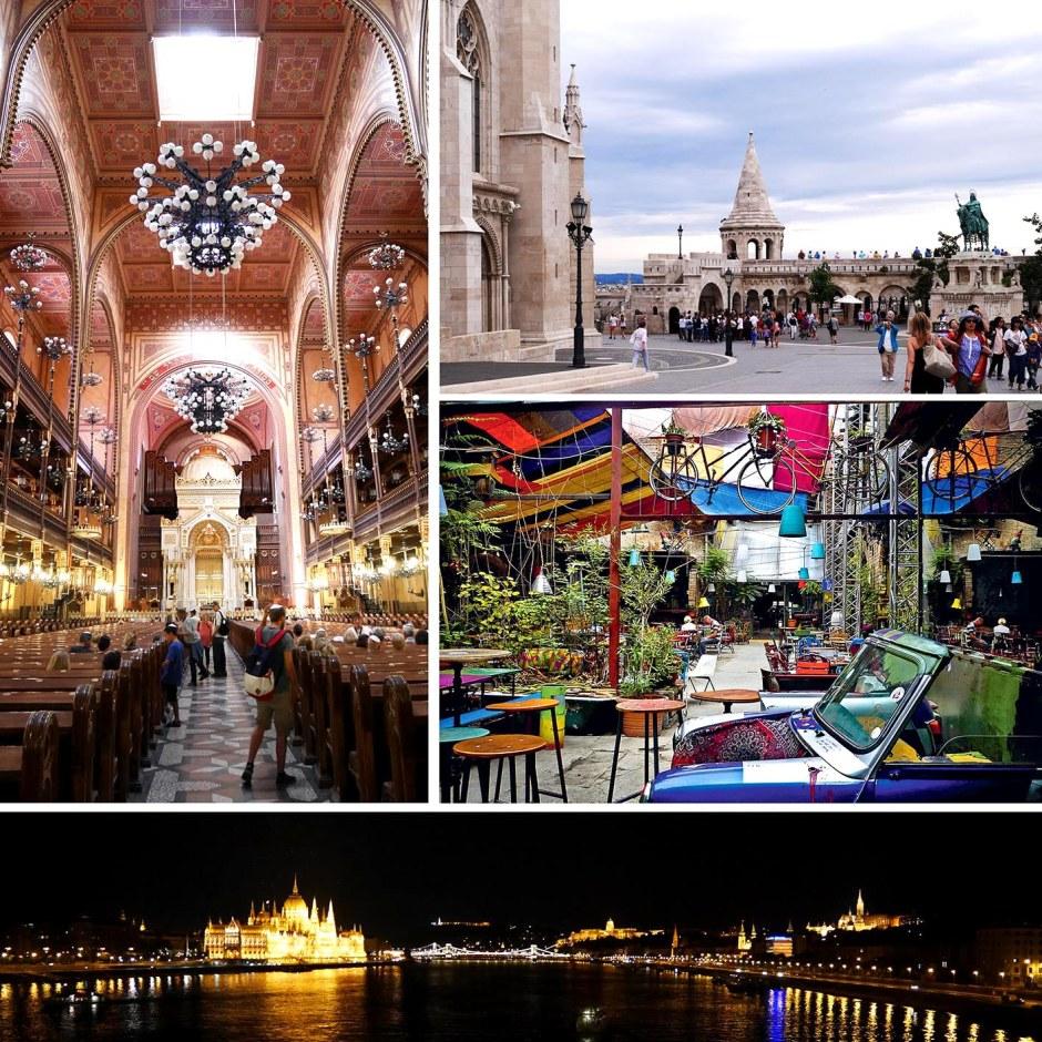 La sinagoga, il Bastione dei pescatori, il riunì pub Szimpla, la città vista dal Danubio.