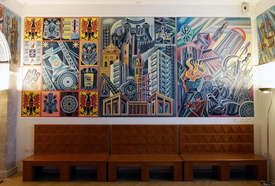 Alcune opere esposte nella Casa d'Arte Futurista di Depero.