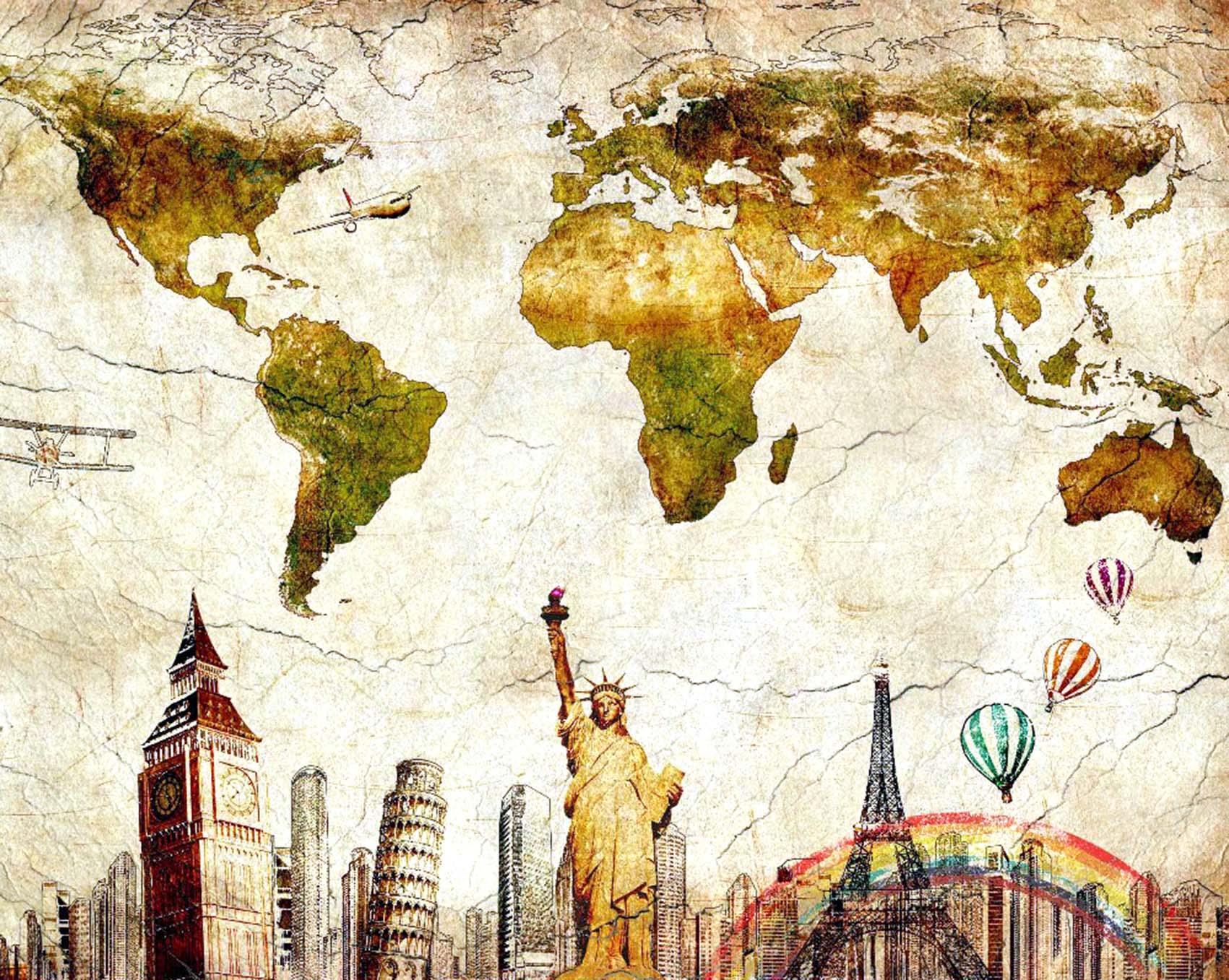 Map Of The World Wall Stickers Viaggi La Sottile Linea D Ombra