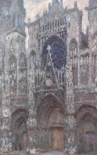 Claude Monet, la cattedrale di Rouen, il portale, tempo grigio.