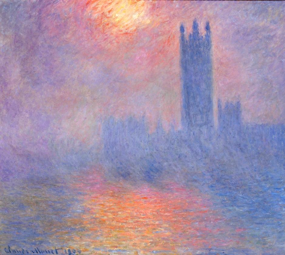 Claude Monet, Londra, il Parlamento. Effetto di sole nella nebbia.