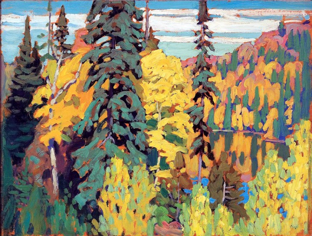 Lawren Harris, Trees and pool.