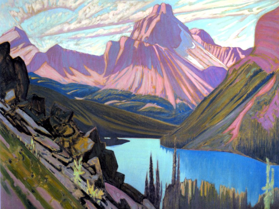 Lake O'Hara and Cathedral Mountain by the Group of Seven painter J. E. H. MacDonald
