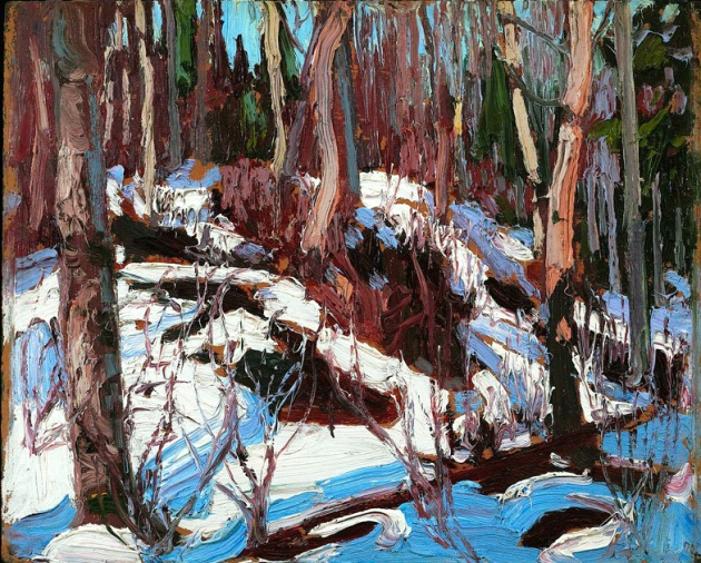 Tom Thomson, winter thaw in the woods