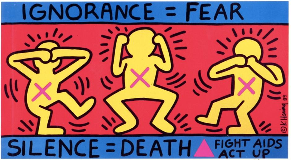 Keith-haring-Ignorance_Fear-Silence_Death-1989