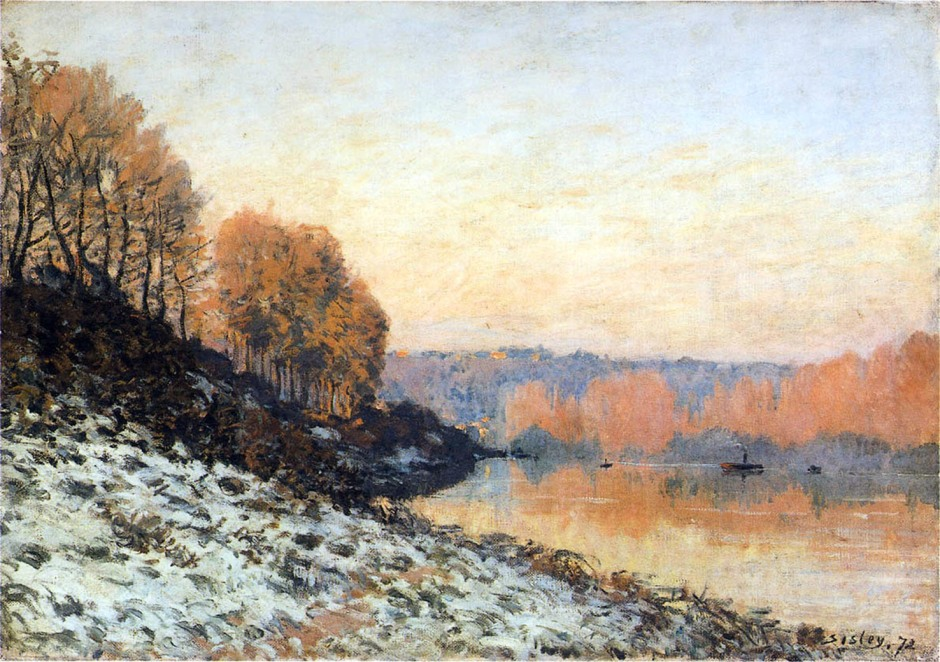 alfred-sisley-the-seine-at-bougival-in-winter-1872