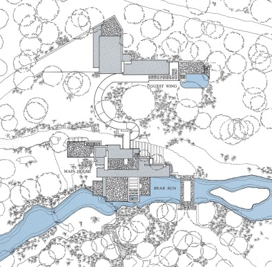 Casa cascata Wright Planimetria generale