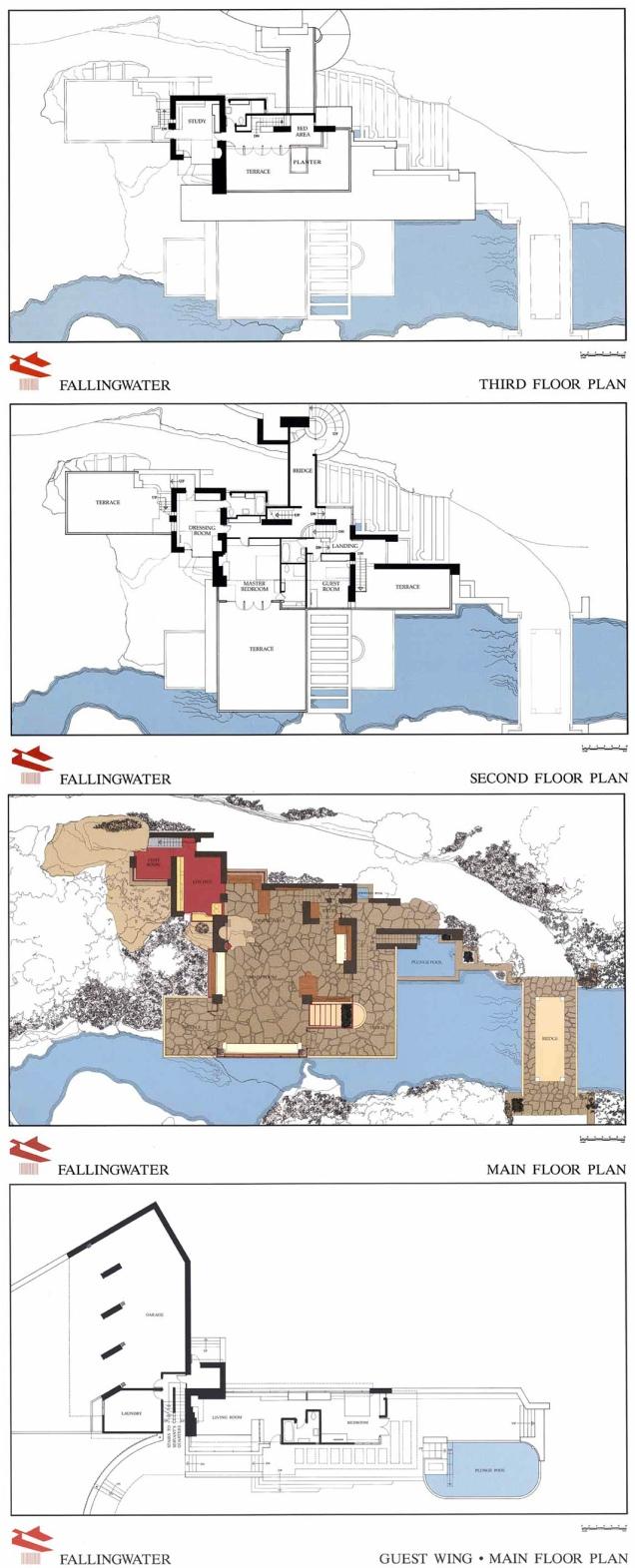 Casa cascata Wright Planimetria