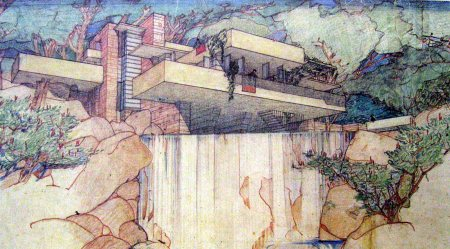 Frank Lloyd Wright, Prospettiva di Casa Kaufmann.
