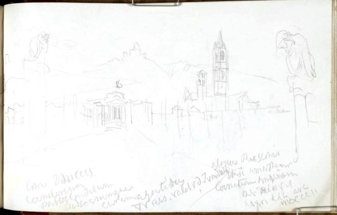 J. M. W. Turner, la Certosa di Bologna con la chiesa di San Gerolamo.