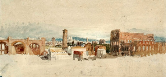 J. M. W. Turner, il Colosseo e la Basilica di COstantino (dall'Album Roma, studi a colori).