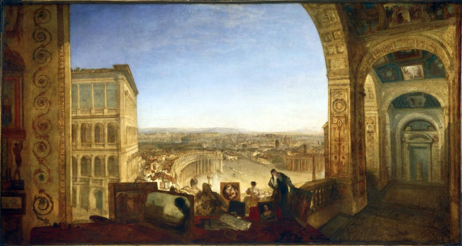 Rome, from the Vatican. Raffaelle, Accompanied by La Fornarina, Preparing his Pictures for the Decoration of the Loggia exhibited 1820 by Joseph Mallord William Turner 1775-1851
