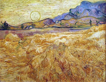 Vincent Van Gogh, Campo con mietitore e sole.