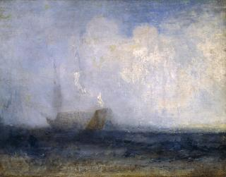J. M. W. Turner, Seascape with a Sailing Boat and a Ship.