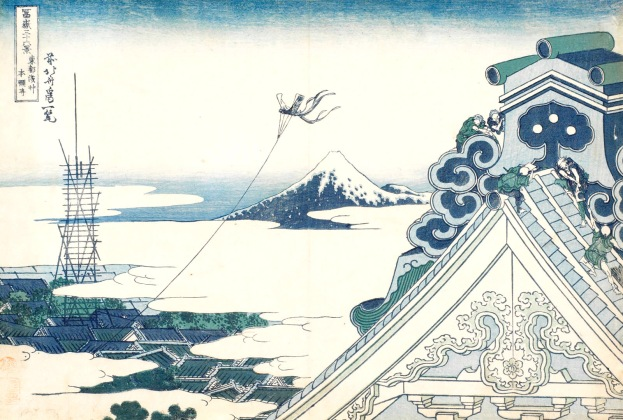 "Katsushika Hokusai, il santuario Honganji di Asakusa a Edo dalla serie ""Trentasei vedute del Monte Fuji"", 1830-1832."