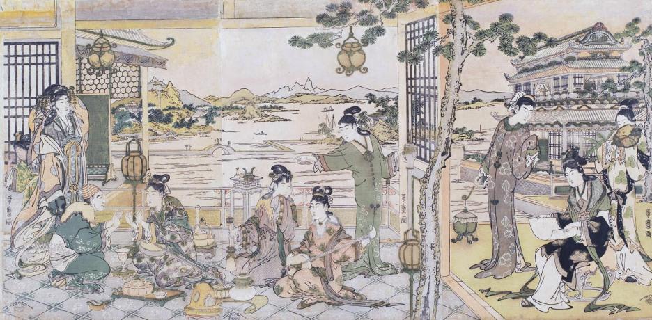 Kitagawa Utamaro, Beltà cinesi a un banchetto, 1788-1790