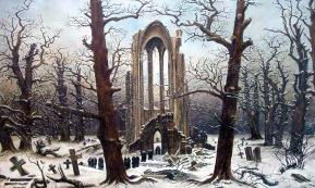Caspar David Friedrich, cimitero del monastero nella neve.