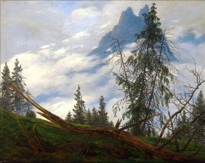 C. D. Friedrich, vetta con nuvole in movimento.