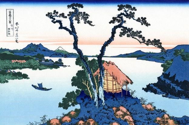 """Katsushika Hokusai, Lago Suwa nella provincia Shinano, dalla serie """"Trentasei vedute del Monte Fuji"""", 1830-1832."""
