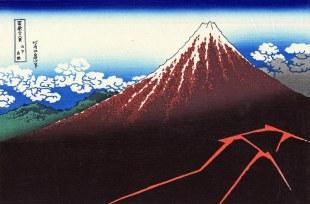 """Katsushika Hokusai, Fulmini sotto la vetta, dalla serie """"Trentasei vedute del Monte Fuji"""", 1830-1832."""