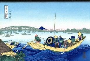 "Katsushika Hokusai, Tramonto sul ponte Ryogoku dalla riva del fiume Sumida a Omnagayashi, dalla serie ""Trentasei vedute del Monte Fuji"", 1830-1832."