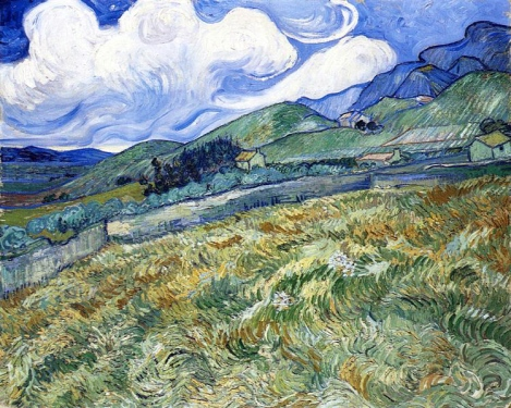 Vincent Van Gogh, Campo di grano con montagne sullo sfondo.