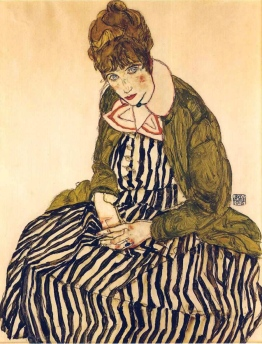 Egon Schiele, Edith con un vestito a righe