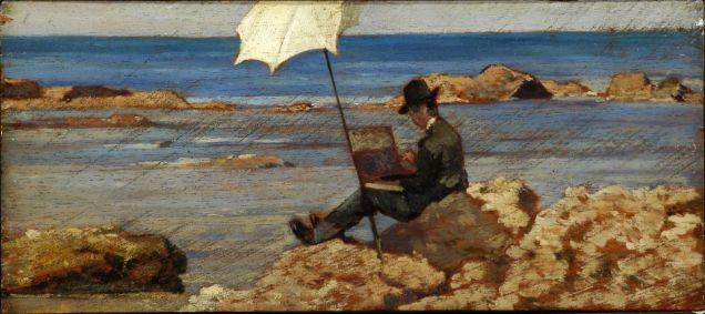Giovanni-Fattori-Silvestro-Lega-che-dipinge-sugli-scogli-olio-su-tavola-125-x-28-cm-943x420