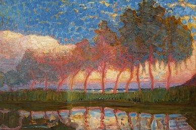 Piet Mondrian, filare di 11 pioppi in rosso, giallo e blu.
