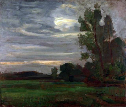 Piet Mondrian, Field with trees at dusk