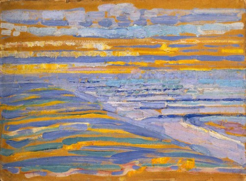 Piet Mondrian, view from the dunes with beach and piers
