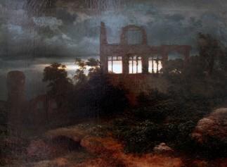 Arnold Böcklin, Paesaggio con castello in rovina, 1847.