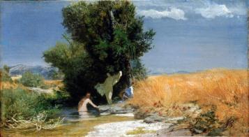 Arnold Böcklin, Campo di grano con ragazze che si fanno il bagno, 1863.