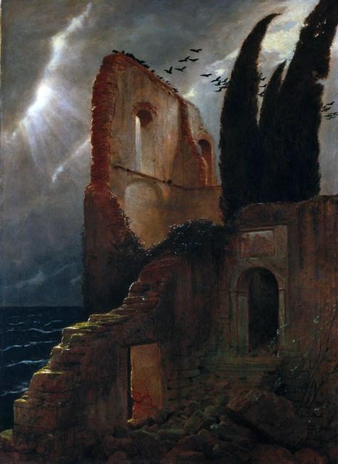 Arnold Böcklin, Rovine sul mare, 1881.