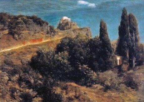 Arnold Böcklin, Castello montano con corteo di soldati, 1871.