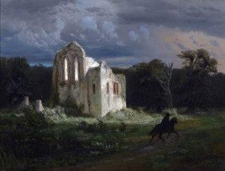 Arnold Böcklin, Paesaggio lunare con rovine, 1847.
